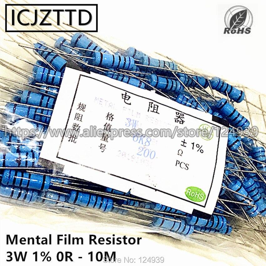 100 штук пакет 3 Вт 1% 3 Вт ментальная пленка резистор 1% 20 к 22 к 24 к 27 к 30 к 33 к 36 к 39 к 43 к 47 к 51 к 56 к 62 к 68 к 75K 82K 91K 100K 120K 150K