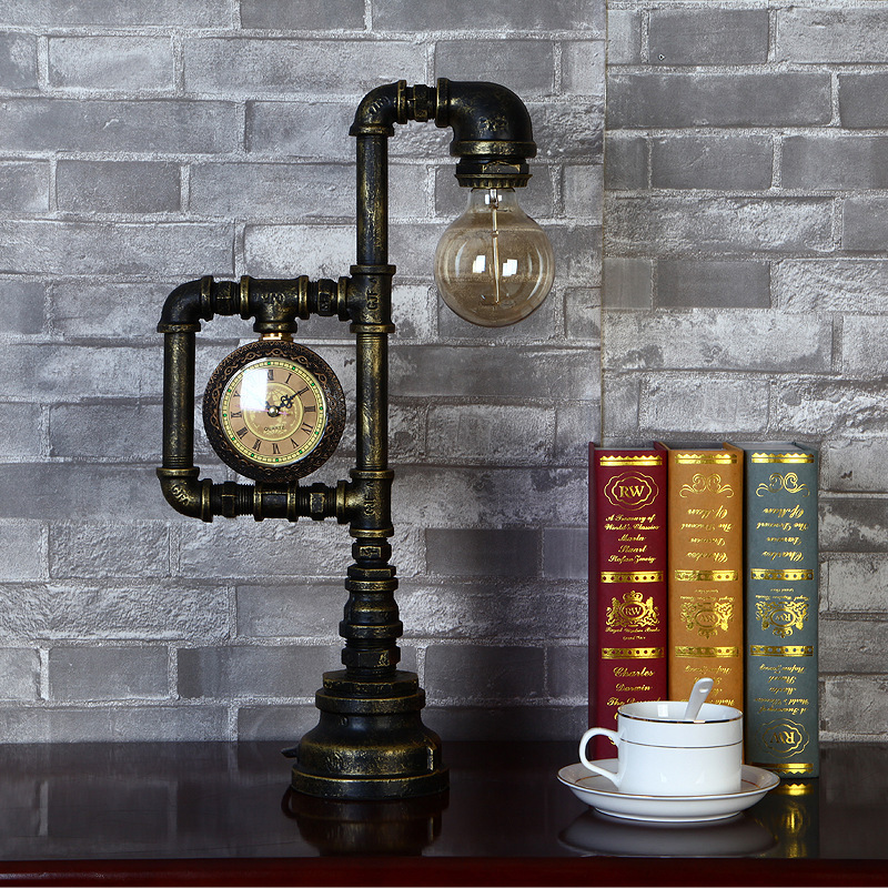 Vintage Industrial Water Pipe Table Light Edison Desk Accent Lamp With Clock Bar For Coffee Shop Bedside