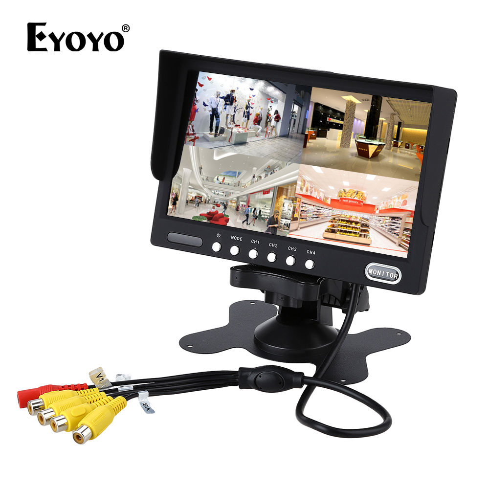Eyoyo KJ-708 HD TFT LCD 7 Color Car Truck Quad Split Car Rear View Monitor 4-Channel Video 9-45V DC diysecur 4pin dc12v 24v 7 inch 4 split quad lcd screen display rear view video security monitor for car truck bus cctv camera