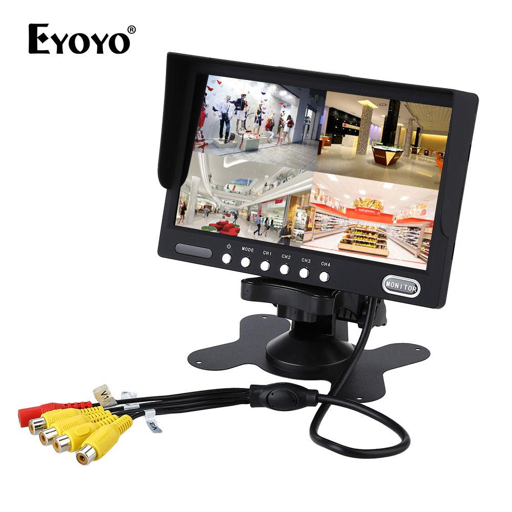 Eyoyo KJ-708 HD TFT LCD 7 Color Car Truck Quad Split Car Rear View Monitor 4-Channel Video 9-45V DC