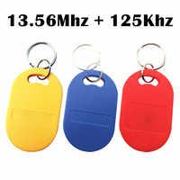 5 stücke IC ID UID 13,56 mhz RFID 125 khz T5577 EM4305 Dual Chip Frequenz Veränderbar Beschreibbare Wiederbeschreibbare Verbund Schlüssel tags Keyfob