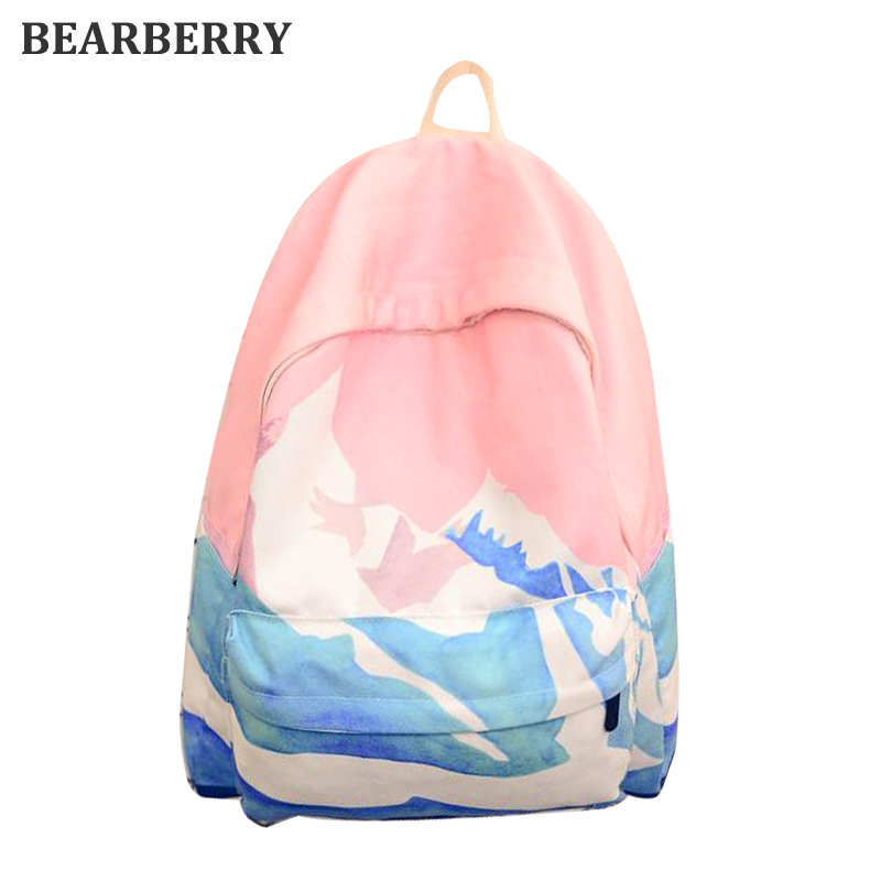 BEARBERRY 2017 Landscape Embroidery Printing Backpack Casual Canvas Backpack School Bags For Teenager Girls Rucksack Mochila