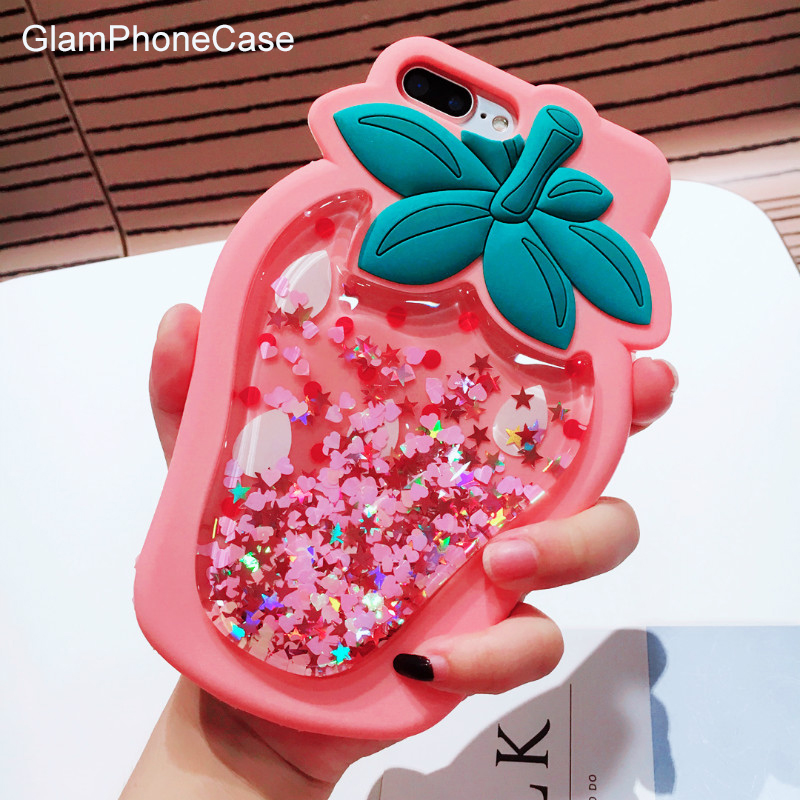 GlamPhoneCase 3D Strawberry Liquid Quicksand Transparent Glitter Case for iPhone X 8 6s 6 7 Plus Soft Silicone Capas Covers