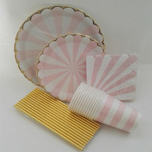 & Pink Striped Paper Cups and Plates Tableware