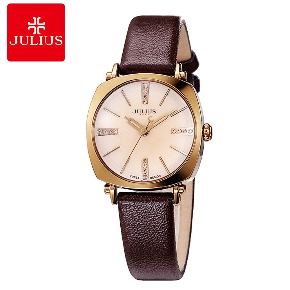e6f0ed5ce83 Mulheres quentes vestido de pedra de luxo que bling strass relógio de pulso  Novo Da Menina moda casual quartz relógio Julius 388 relógio de couro  original ...