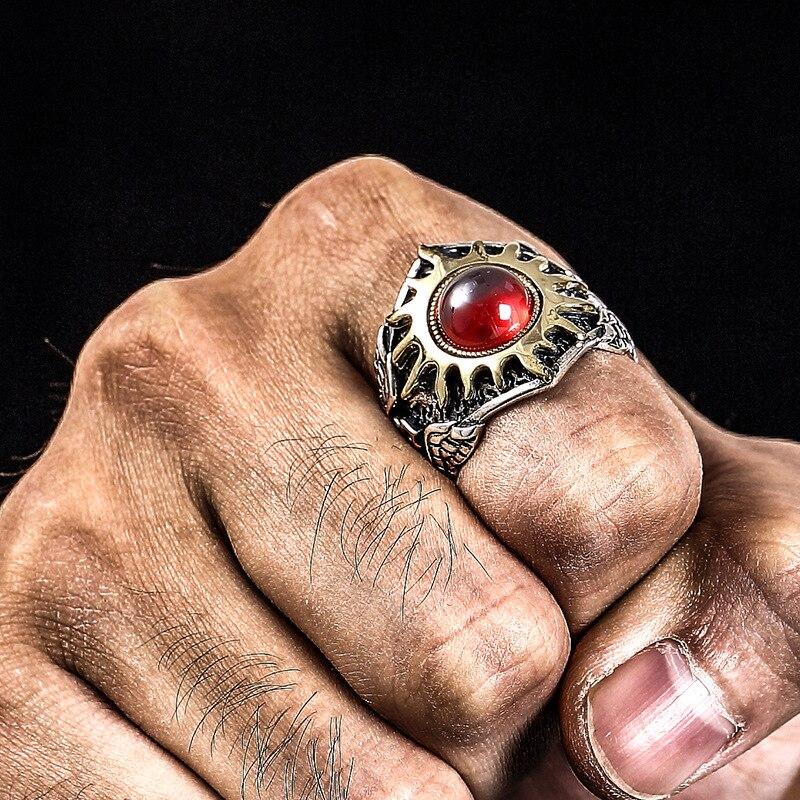 Qualité 925 argent sterling soleil dieu vintage personnalité à la mode dominateur homme réglable rubis anneaux pour homme meilleur cadeau bijoux