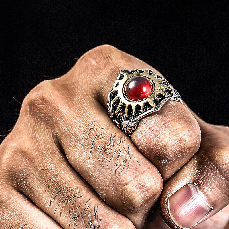 Quality 925 sterling silver sun god vintage personality trendy Domineering man adjustable ruby rings for man best gift jewelry  Quality 925 sterling silver sun god vintage personality trendy Domineering man adjustable ruby rings for man best gift jewelry