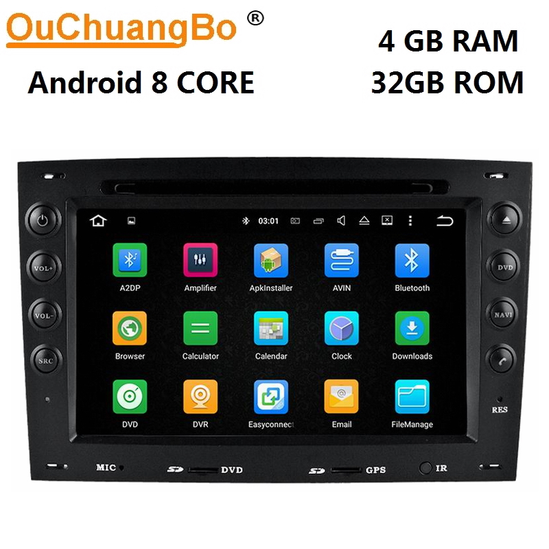 Ouchuangbo Android 8.0 voiture dvd audio gps navigation pour Renault Megane 2 II 2003-2010 avec radio bluetooth wifi 8 core 4 gb + 32 gb