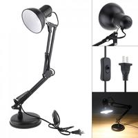 Black Flexible Swing Arm Clamp Mount Desk Lamp with Base and Key Switch Support Bulb for Office / Home