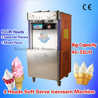 Four Heads Commercial Soft Serve Ice Cream Machine 48~52liters/H Double Control System Ice Cream Maker with Casters