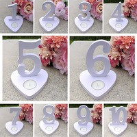 1 10 Wedding Table Number Signs White Wood Plastic Table Number Stand/Candle Holder With Heart Base Wedding Table Decorationss