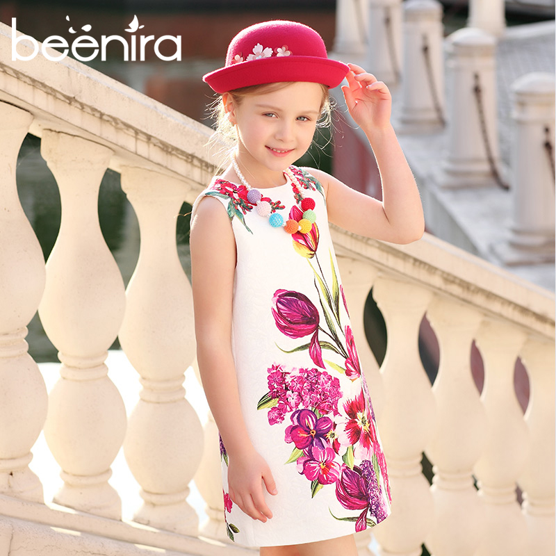 Girls Dresses Kids Clothes 2018 Brand Girls Summer Dresses Rose Flower Printed Princess Dress for Children 4-14 Y Sleeveless teenage girls dresses summer style sleeveless denim dress for girls clothing teens sundress kids clothes 2 4 6 8 10 12 14 15 y