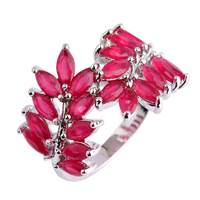 New Women Rings Unique Delicate Olive Branch Ruby  Silver Ring Size 7 8 9 10 Free Shipping Wholesale Gift
