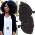 Queen hair products grau 8a cabelo humano remy mongolian kinky curly virgem cabelo 3 pçs/lote, macio Mongol tecer encaracolado afro crespo