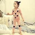 Outono primavera crianças meninas pijama bebê o-pescoço manga longa de algodão bonito dos desenhos animados impresso t camisa e calças 2 pcs set roupas 2-6 T