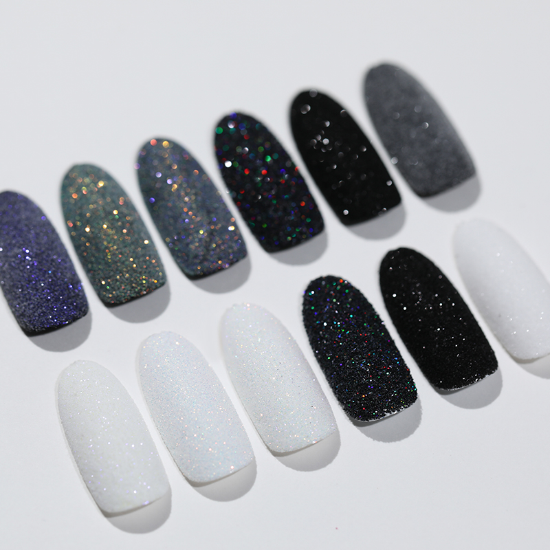 2g Shining Sugar Nail Powder White Black Nail Glitter Pigment Dust Holographic Laser for Gel Polish Decoration Tips