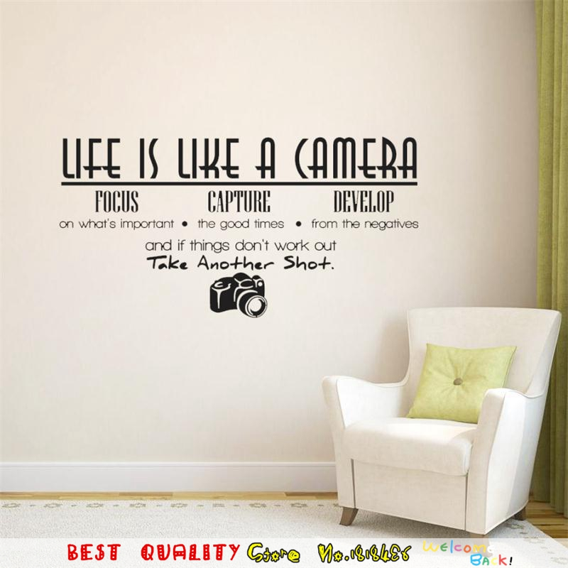 hot letter designs wall stickers life is a camera quote wall decals paste home decoration photograph