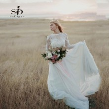 Two-Pieces Wedding Dress Long Sleeves Modest Bride Informal Romantic New-arrival Hot sale