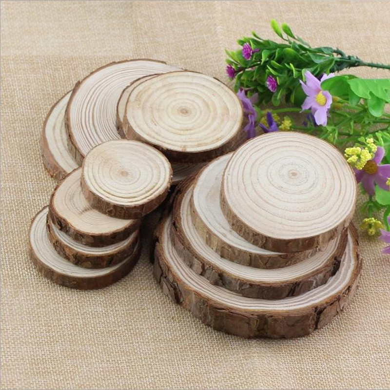 2018 New 10pcs 5-6CM 6-7CM Wood Log Slices Discs Cutout Circle Round Large Wood Disks Wedding Ring Jewelry Decor Wooden Display