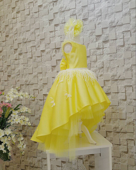 Yellow child evening prom gowns with feather butterfly pearls V-back high low flower girl dresses for birthday party