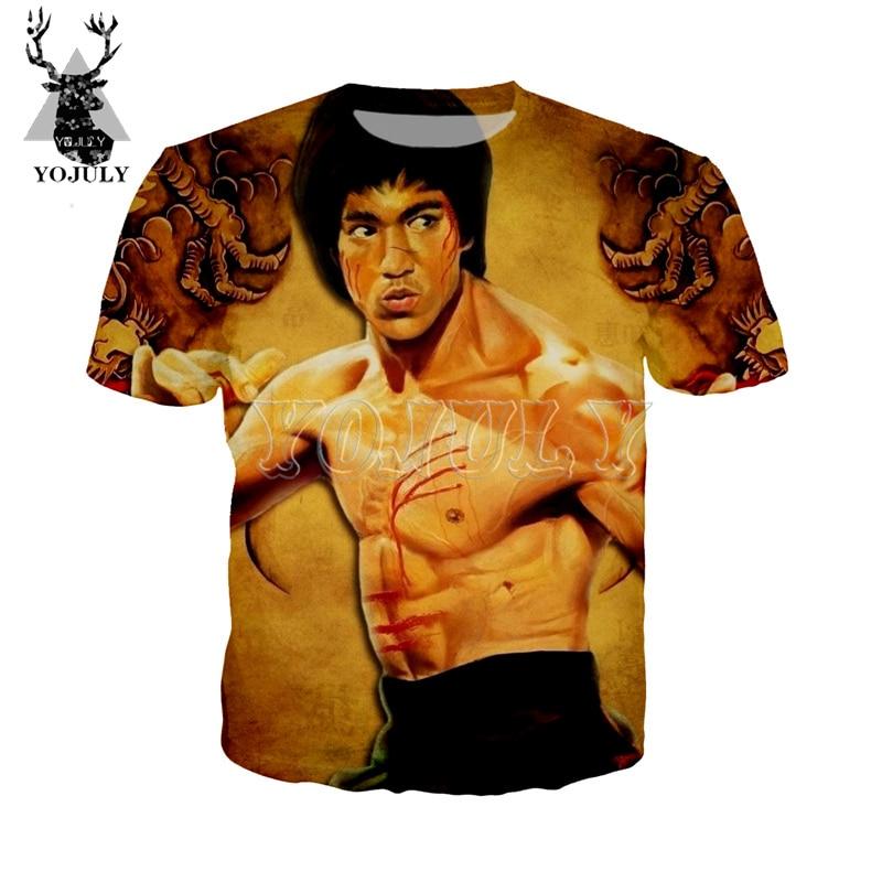 66d240c18 YOJULY Bruce Lee hombres 3D imprimir camiseta mujer moda Casual cuello  redondo Camiseta Unisex ...