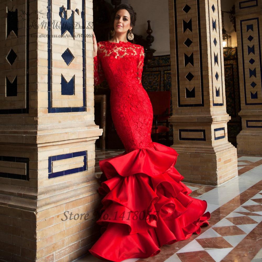 Elegant Lace Mermaid Evening Dress Red Long Sleeve Prom Dresses Backless Formal Gowns Ruffles Sweep Train Vestido de Festa Longo