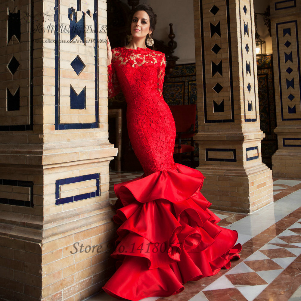 Elegant Lace Mermaid   Evening     Dress   Red Long Sleeve Prom   Dresses   Backless Formal Gowns Ruffles Sweep Train Vestido de Festa Longo