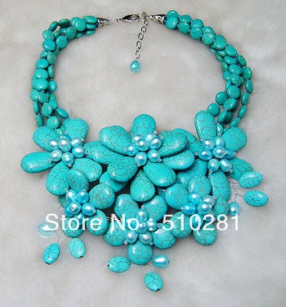 Красивый kallaite Цветок и Жемчужное ювелирное ожерелье