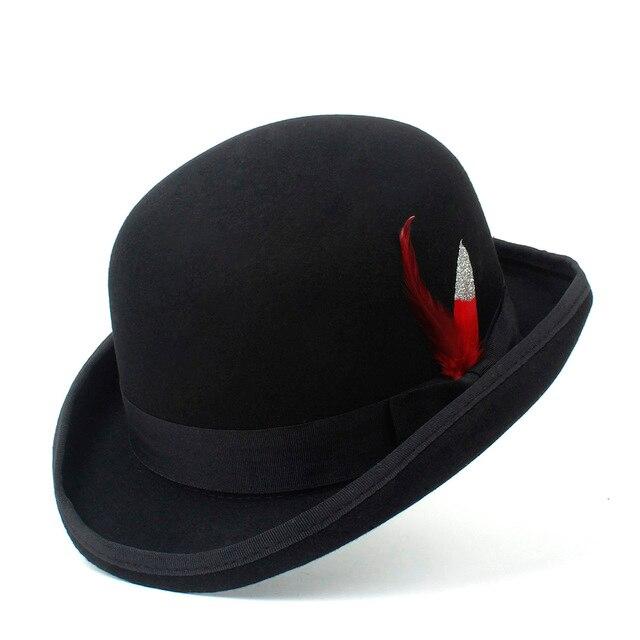 100% Wool Women Men Black Bowler Hat Gentleman Crushable Billycock Groom  Hats Dad Steampunk Cap 4Size S M X XXL 1952527dcc4