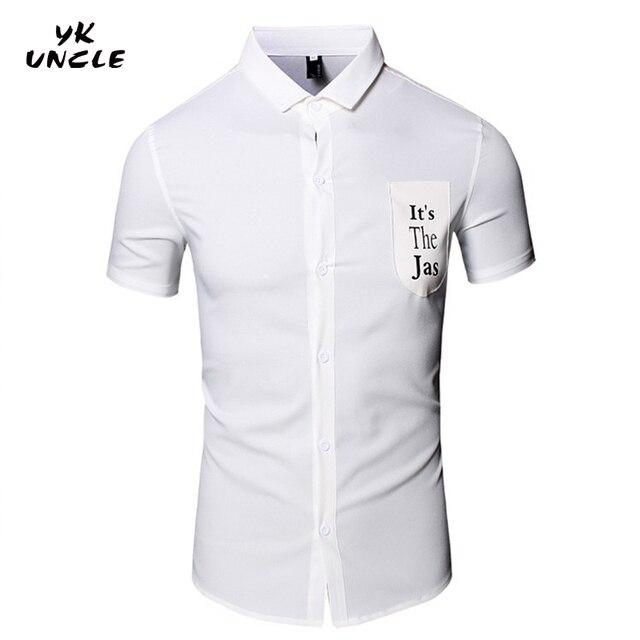 Men's Short Sleeved Shirt 2016 Brand Solid Color Pocket Decorate Slim Mens Clothes Camisa Masculina Chemise Homme Heren,YK UNCLE