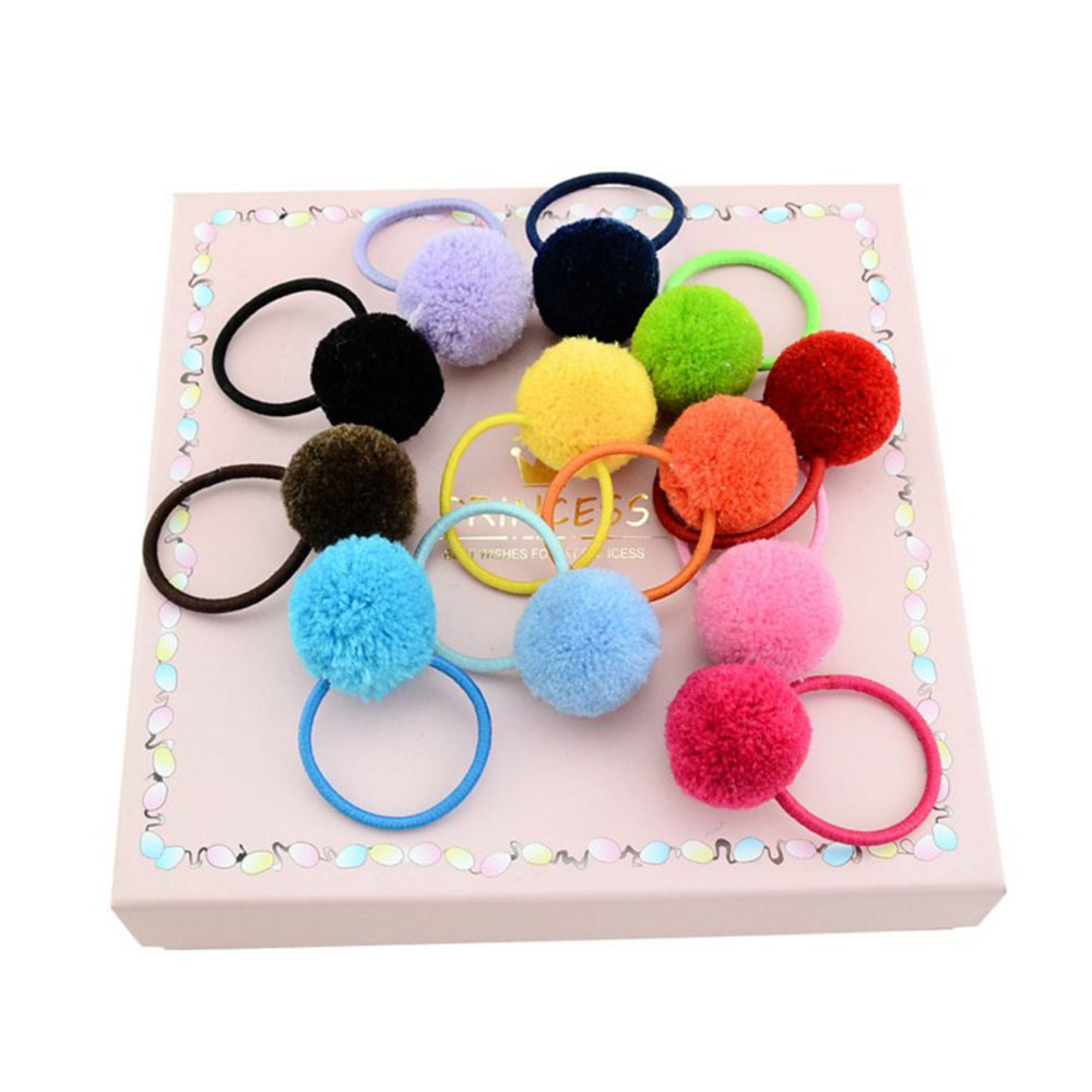 Fashion 12pcs/lot Kids Cute   Headwear   Pompom With Elastic Hair Rope Ribbon Accessories Headband For Girls