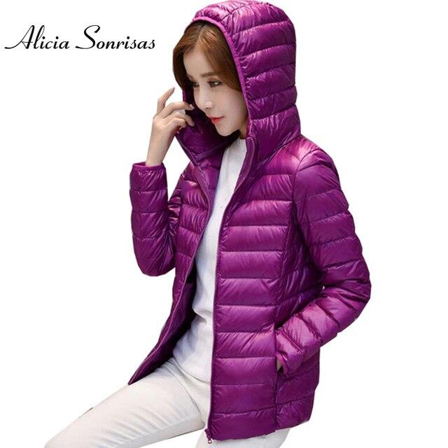 2017 Spring Warm Women Short Hooded Thin Down Jacket Slim Korean White Duck Down Zipper Slim Coat M-4XL YSB01