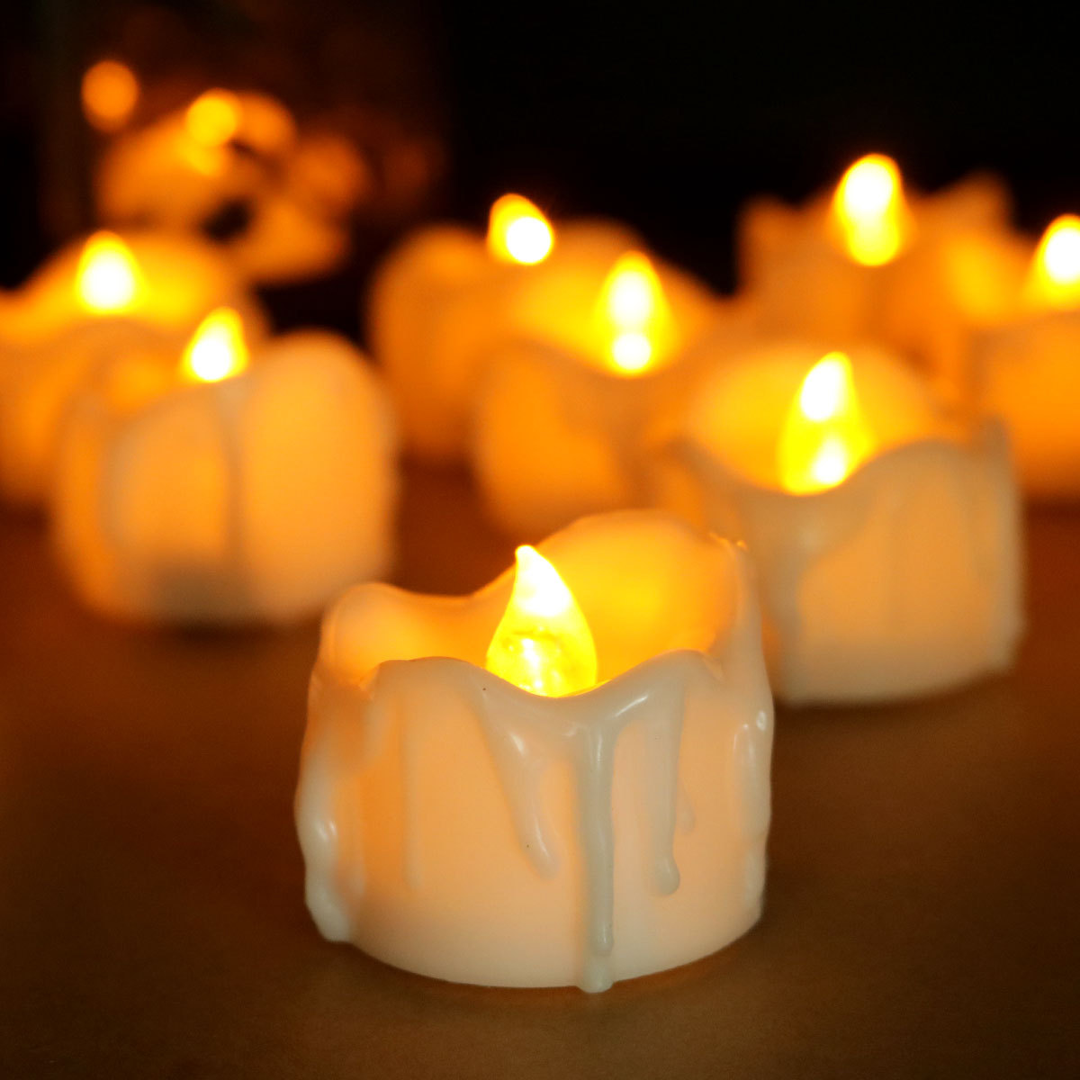 12pcs/lot Halloween LED Yellow Flicker Battery Candles Electric Candles Tea Lights