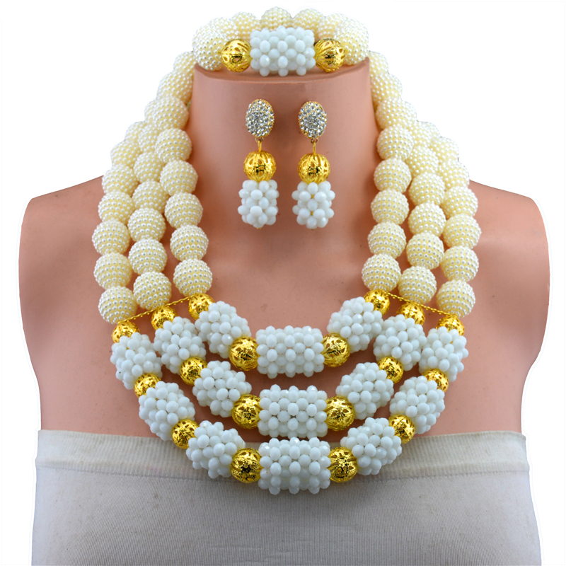 Nigerian Wedding Multi Layer Necklace / Earring Indian Jewelry Sets White Necklace Fashion African Beads Jewelry Set oysters indian v black white