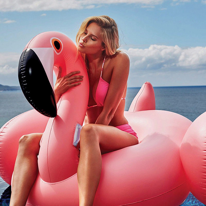 180cm Thicken PVC inflatable flamingo Ride-On floating ring swimming pool for adults children giant swan float toy chair (1)