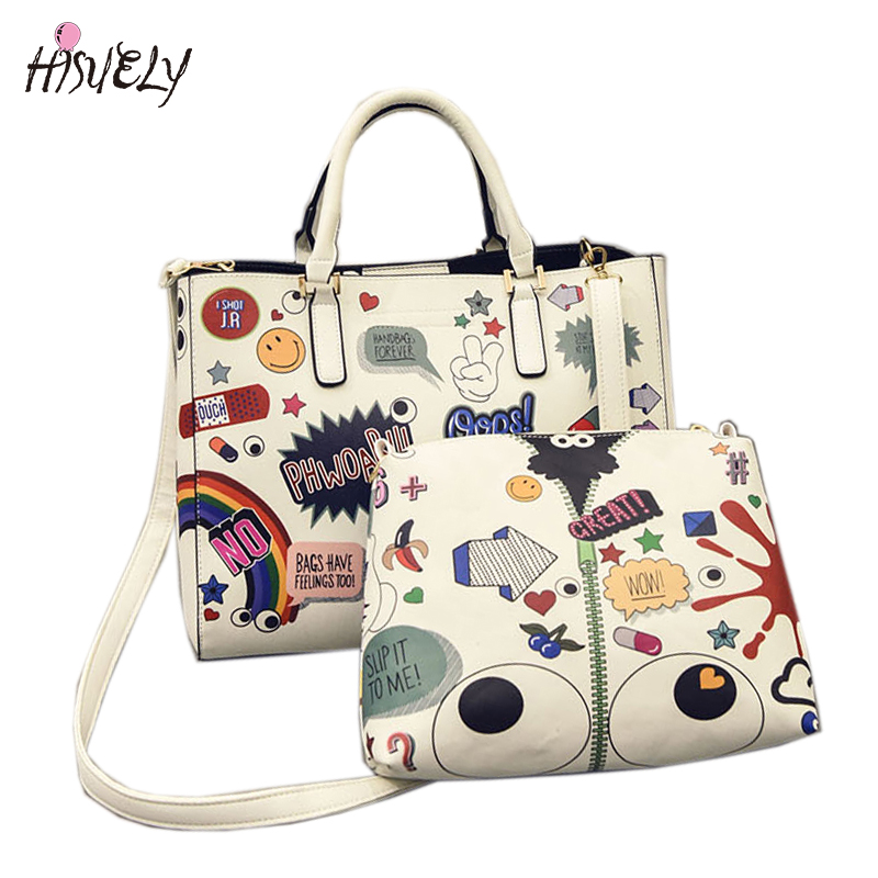 Buy hisuely fashion korean harajuku style handbag printed graffiti bags Korean style fashion girl bag