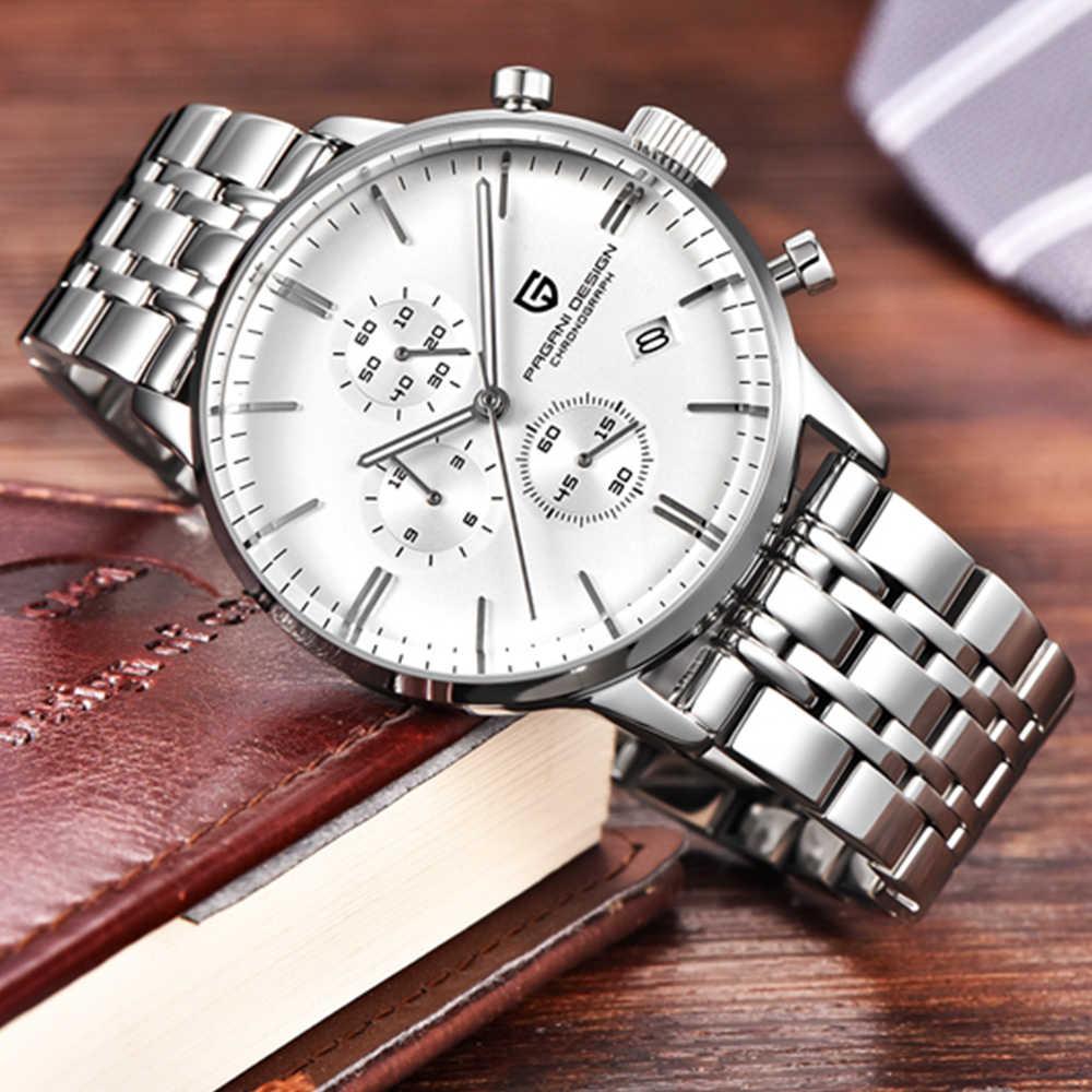 Pagani design luxo marca superior simples cronógrafo aço inoxidável relógio masculino militar quartzo relógios de pulso vestido masculino