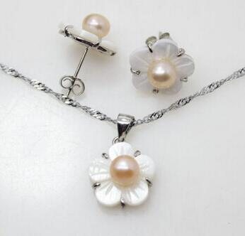 Jewelry Exquisite Fashion Pink Pearl & White Shell Flower Earring Pendant Jewelry Set