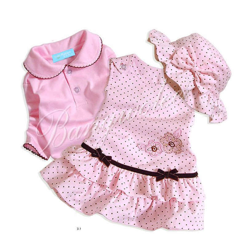 3pcs baby clothing sets, baby girl clothes with beautiful