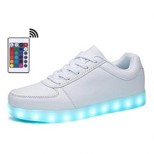 Women Shoes USB Charge Boy&Girl White LED Slippers Luminous Sneakers Glowing White Footwear LED Night Flashing Shoes with Light glowing luminous sneakers feminino baskets with light sole usb charger children led slippers for boy