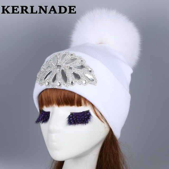 ecd51fdfb8037 mink and fox fur ball cap pom poms winter hat for women girl  s wool hat  knitted cotton beanies cap brand new thick female hats