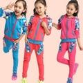 2014 мода новых осенью верхняя одежда детей 2 шт. орхидеи костюм девушки комплект одежды свитер + брюки осенью ребенок свободного покроя спорт комплект