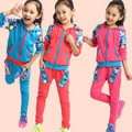 2014 fashion new autumn outwear children 2 pcs orchid suit girls clothing set sweater+pants autumn baby casual sport set