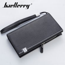 Baellerry Men Solid Black Long Wallet PU Leather Zipper n Rope Coin Pocket Card Holder Photo Business