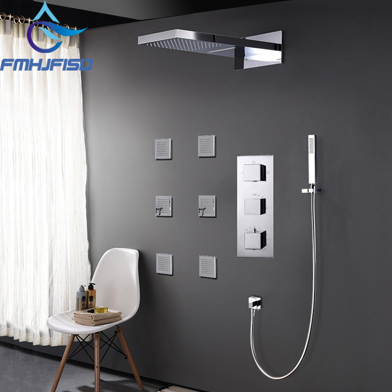 Concealed Thermostatic 4 Functions Waterfall Bath Shower Faucet Set with 6pcs SPA Body Nozzle Massage Jets