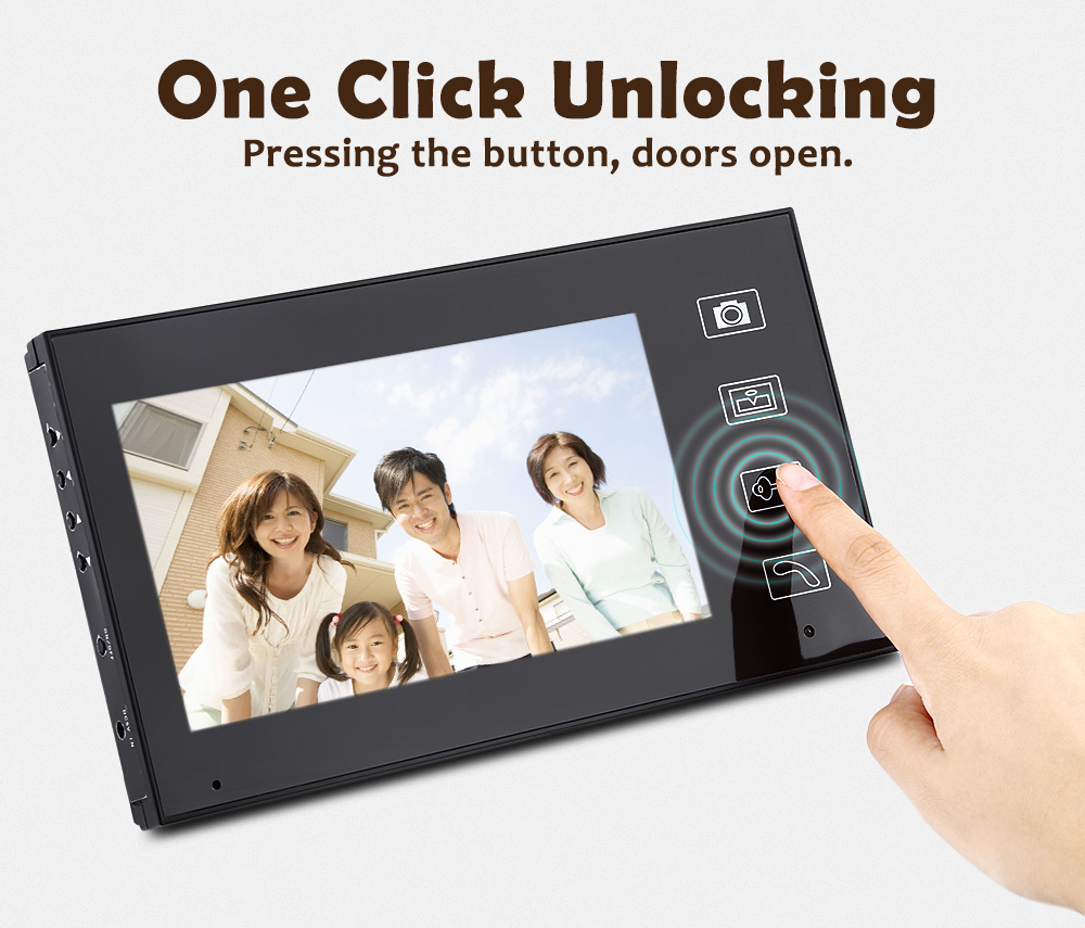 Fimei 7 inch TFT LCD 2.4G Wireless 2 Waterproof Security Camera Home Video Door Phone Visual Video Intercom System Doorbell EU yobang security free ship 7 video doorbell camera video intercom system rainproof video door camera home security tft monitor