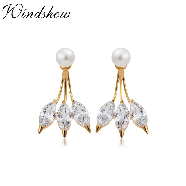Ear Jacket 3 Marquise Cut Cz Faux White Pearl Stud Earrings For Women Gold Color Double Sided Back And Front Swing Jewelry