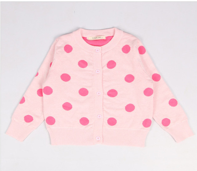 1-5Y Girls Cardigan Children Sweatercoat Kids Sweater Baby Jacket Dot Girl Outwear Spring Autumn Coat Clothes AS-1590