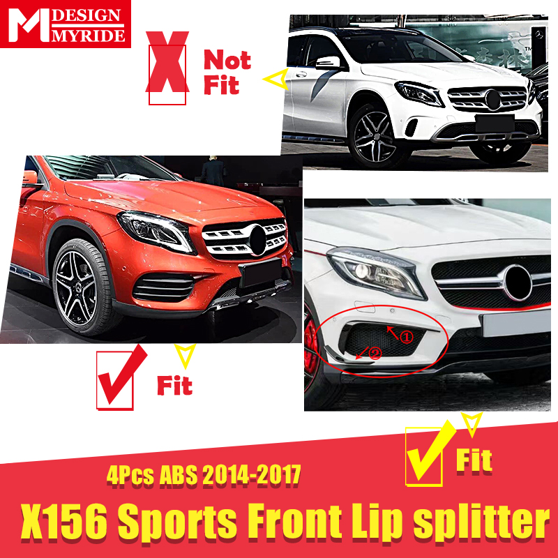 X156 Front Bumper Canard Vent Rafts Splitter 4 Pcs ABS For Mercedes Benz X156 GLA180 200 250 Sports Front Lip Splitters 2014 17 in Bumpers from Automobiles Motorcycles