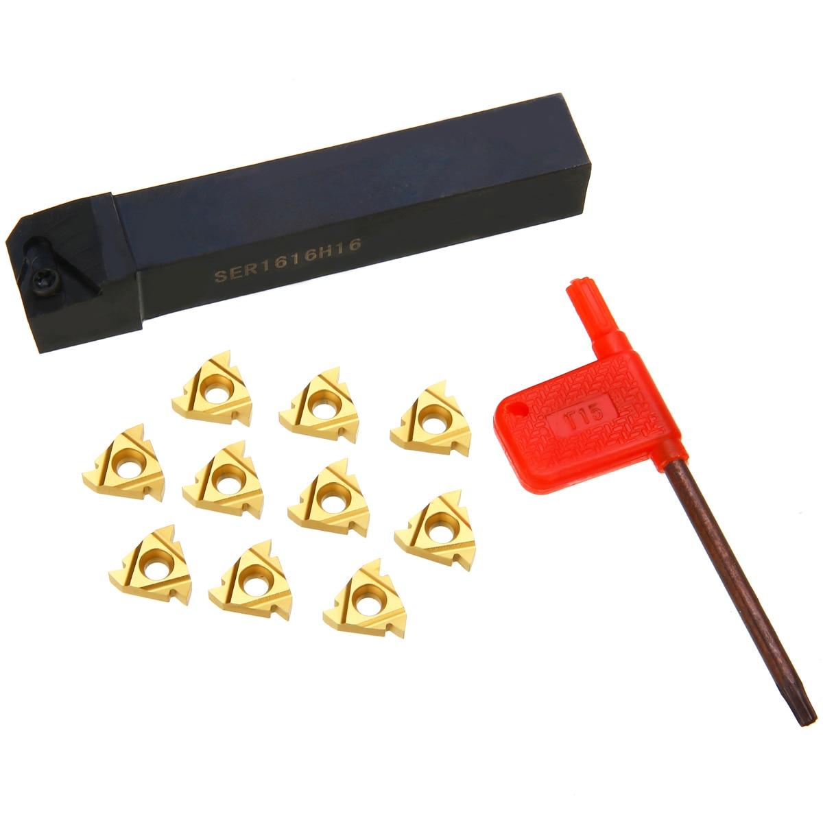 دارنده ابزار 1pc SER1616H16 + 10 قطعه 16ER AG60 کاربید درج داخلی + آچار برای تبدیل ابزار